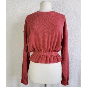 Zara Knit Oversized Peplum Cropped Sweater Top